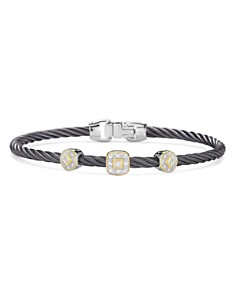 ALOR - Gray Cable Bangle Bracelet With Diamonds