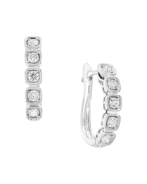 Bloomingdale's - Diamond Huggie Hoop Earrings in 14K White Gold, 0.45 ct. t.w. - 100% Exclusive