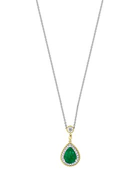 Bloomingdale's - Emerald & Diamond Beaded Teardrop Pendant Necklace in 14K Yellow & White Gold - 100% Exclusive