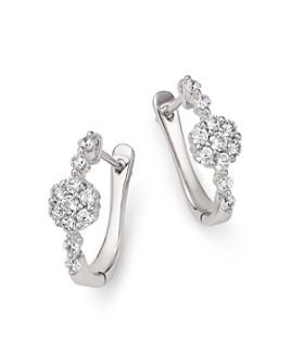 Bloomingdale's - Diamond Flower Huggie Hoop Earrings in 14K White Gold, 0.50 ct. t.w. - 100% Exclusive