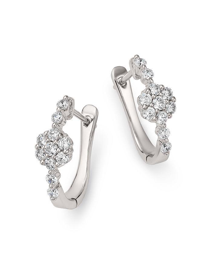 964efc527220d1 Bloomingdale's - Diamond Flower Huggie Hoop Earrings in 14K White Gold,  0.50 ct. t.w.