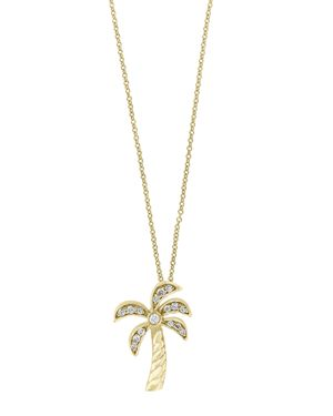 DIAMOND PALM TREE PENDANT NECKLACE IN 14K YELLOW GOLD, 0.10 CT. T.W. - 100% EXCLUSIVE