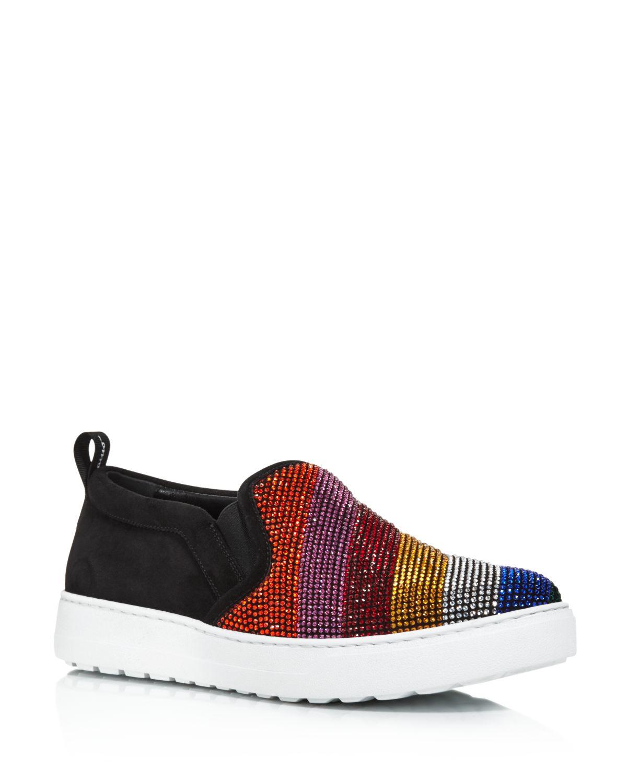 Salvatore Ferragamo Women's Balze Strass Embellished Suede Slip-On Sneakers