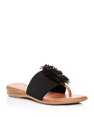 ANDRE ASSOUS Women'S Novalee Leather Fringe Demi Wedge Sandals in Black Fabric