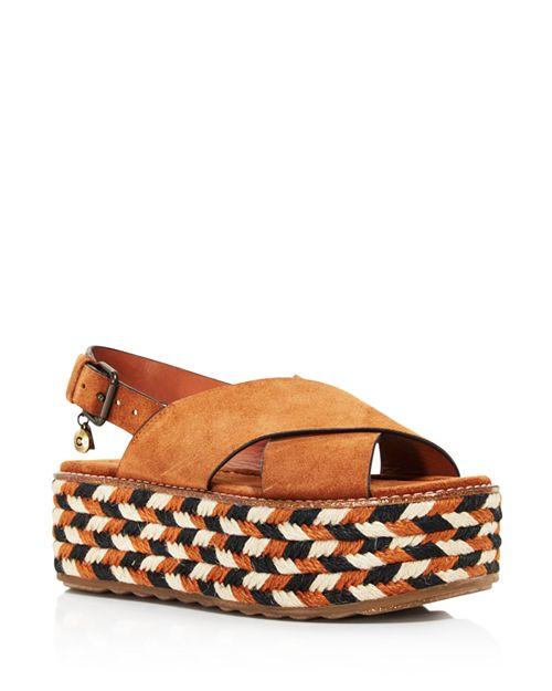 COACH - Women's Suede Platform Wedge Sandals