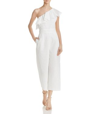 Laundry By Shelli Segal One-Shoulder Lace Jumpsuit, Star White