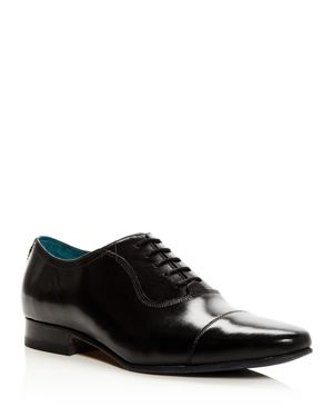 Men'S Karney Leather Cap Toe Oxfords, Black Leather