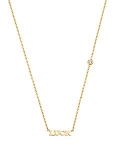 "Zoë Chicco - 14K Yellow Gold Tiny Luck Diamond Necklace, 16"""