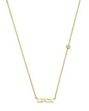 Zoe Chicco 14K Yellow Gold Tiny Luck Diamond Necklace, 16