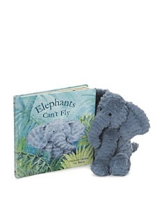 Jellycat - Fuddlewuddle Elephant & Elephants Can't Fly Book - Ages 0+