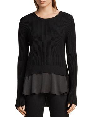 Taya Layered-Look Sweater in Black
