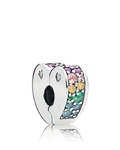 PANDORA Sterling Silver & Cubic Zirconia Nature of Pandora Multicolored Arc of Love Clip - Bloomingdale's_0