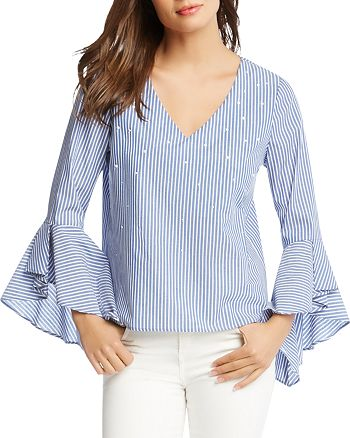 Karen Kane - Embellished Pinstripe Top - 100% Exclusive