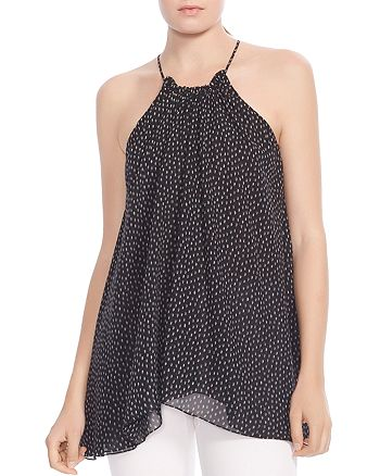 HALSTON HERITAGE - Ruched Printed Silk Top