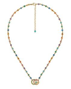 Gucci - 18K Yellow Gold GG Running Mixed Gemstone Necklace, 14.5""