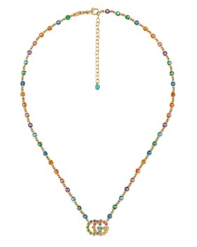 """Gucci - 18K Yellow Gold GG Running Mixed Gemstone Necklace, 14.5"""""""