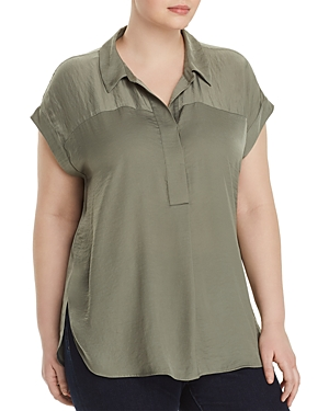 New Vince Camuto Plus Collared Henley Top, Camo Green