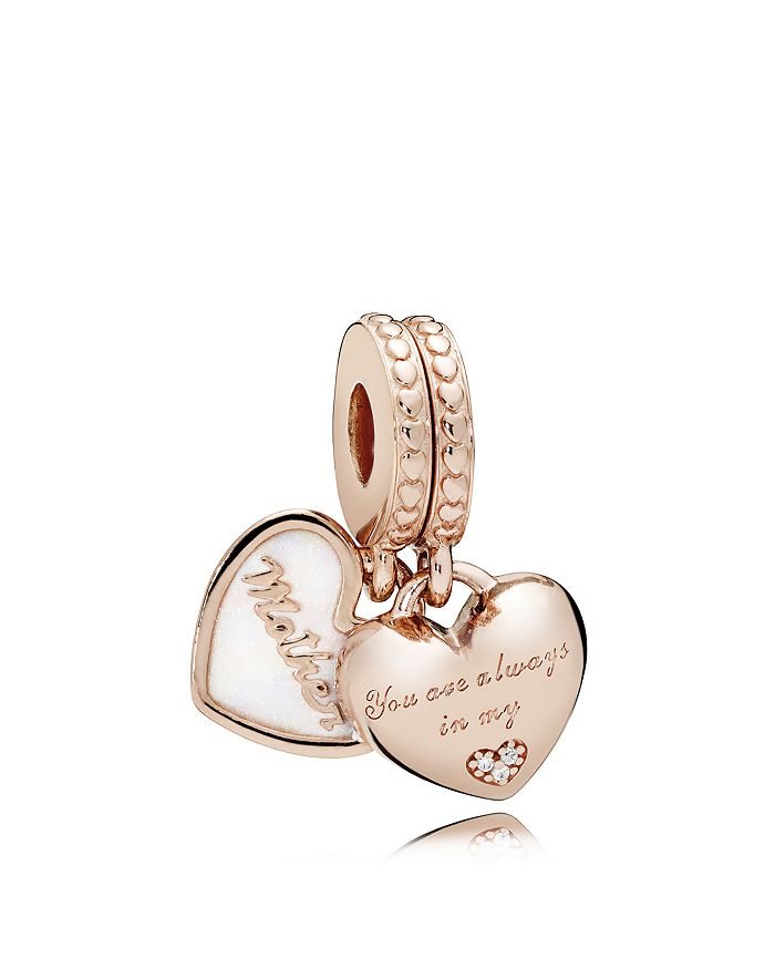 Pandora - Rose Gold-Tone Sterling Silver Mother & Daughter Hearts Drop Charm