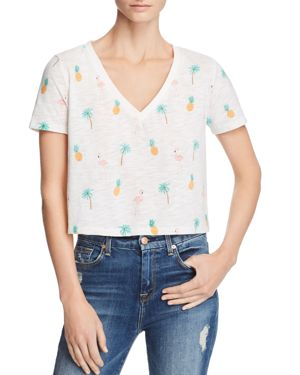 HONEY PUNCH Tropical Print Cropped Tee in White