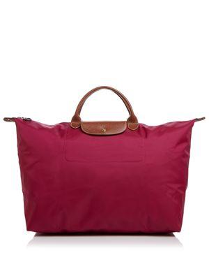 Le Pliage Club Large Nylon Canvas Travel Bag, Dahlia/Gunmetal/Gold