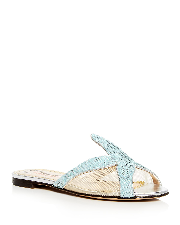 Charlotte Olympia Women's Sandy Sequin Starfish Slide Sandals