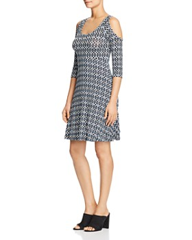 Robert Michaels - Printed Cold-Shoulder Dress