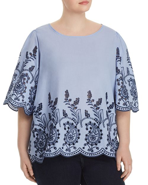 Cupio Plus - Embroidered Mixed Media Blouse