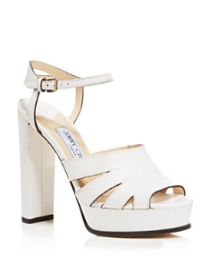 Jimmy Choo - Women's Hermione 120 Leather Platform High-Heel Sandals