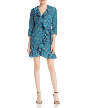 ALISON ANDREWS RUFFLE-TRIMMED FLORAL-PRINT WRAP DRESS