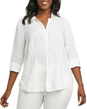 New Foxcroft Plus Taylor Three-Quarter-Sleeve Shirt, White