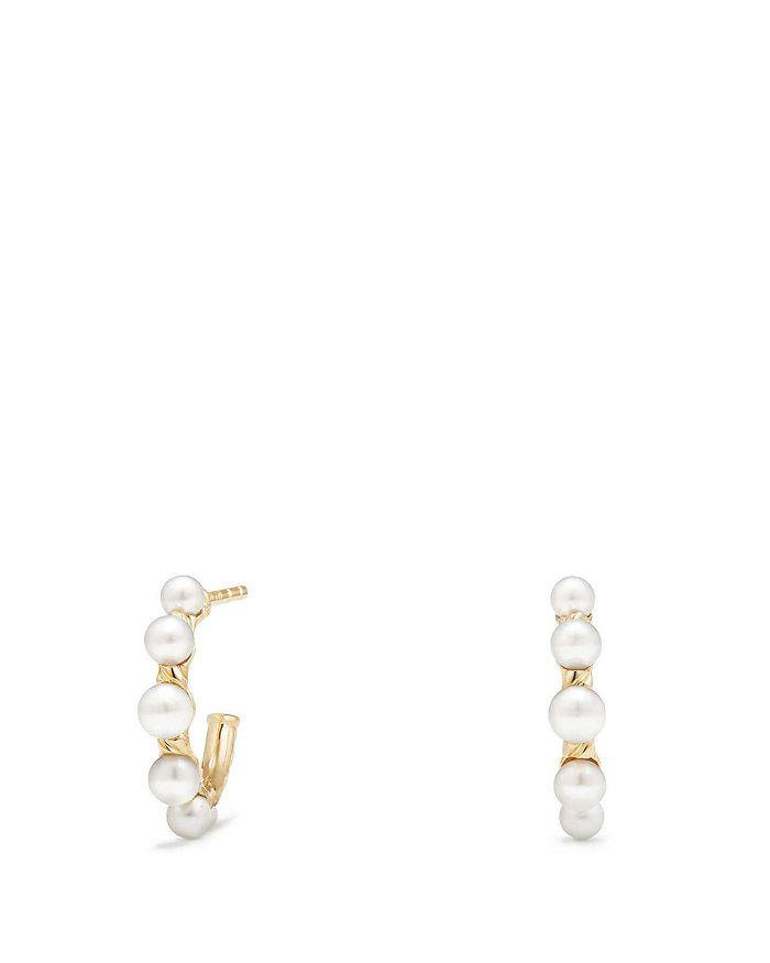 David Yurman - Petite Perle Graduated Hoop Earrings with Cultured Freshwater Pearls in 18K Gold