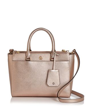 Small Robinson Double-Zip Metallic Leather Tote - Pink, Light Rose Gold