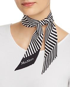 Max Mara - Striped Silk Foulard Skinny Scarf