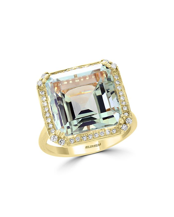 Bloomingdale's - Green Amethyst & Diamond Statement Ring in 14K Yellow Gold - 100% Exclusive