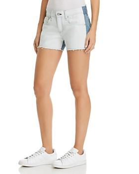 rag & bone/JEAN - Cutoff Contrast Denim Shorts in Double Blues