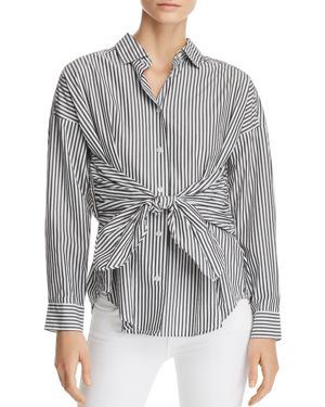 TIE-FRONT STRIPED POPLIN SHIRT
