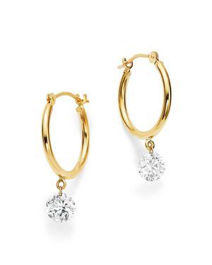 AERODIAMONDS Aerodiamonds 18K Yellow Gold Diamond Dangle Hoop Earrings, White/Gold