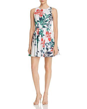 AQUA - Botanical Print Fit-and-Flare Dress - 100% Exclusive