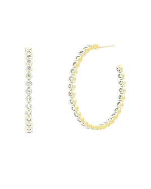 Freida Rothman Fleur Bloom Pave Hoop Earrings