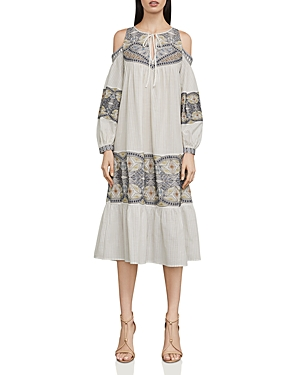 Bcbgmaxazria Embroidered Cold-Shoulder Dress