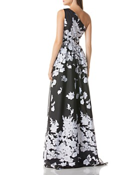 Carmen Marc Valvo - One-Shoulder Floral Organza Ball Gown