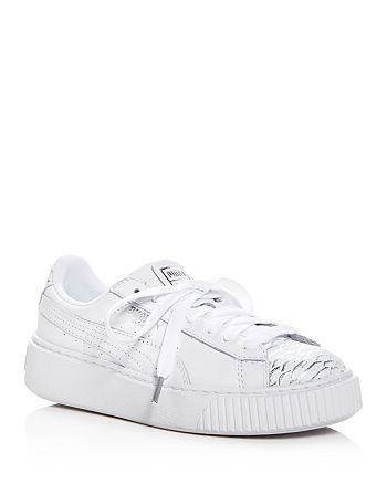 00258ae9 PUMA Women's Basket Ocean Leather Lace Up Platform Sneakers ...