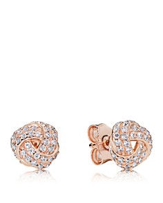 PANDORA - Rose Gold-Tone Sparkling Love Knot Stud Earrings