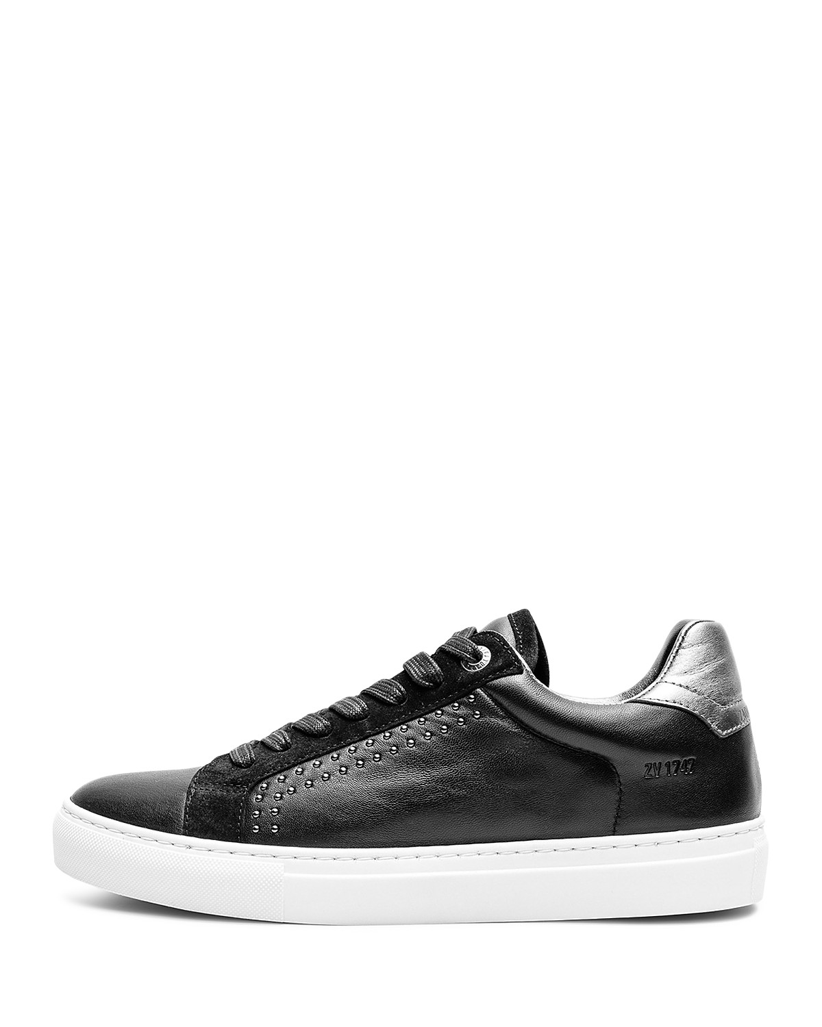 Zadig & Voltaire Women's ZV1747 Skulls Leather Low Top Lace Up Sneakers 5u48ljP