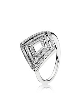 Pandora - Sterling Silver & Cubic Zirconia Geometric Lines Statement Ring