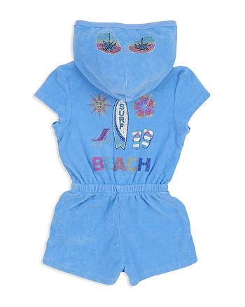 Butter - Girls' Mineral-Wash Embellished Beach Surf Terry Romper - Little Kid