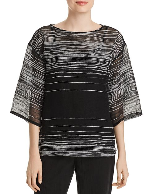 Eileen Fisher - Sheer Line-Print Top