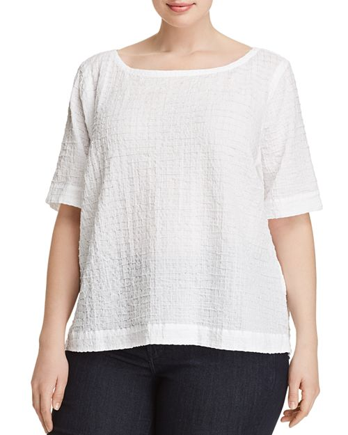 Eileen Fisher Plus - Boatneck Grid-Knit Top