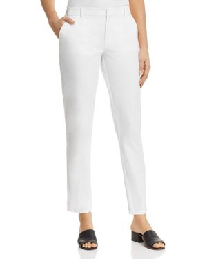 Straight-Leg Stretch Twill Pants, White from DKNY