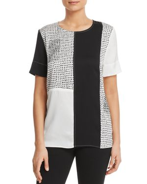 Patchwork Painted Polka Dot Short-Sleeve Top, Black/White from DKNY